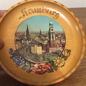 "Vintage Wooden plate Hamburg 5 1/2"" diameter"